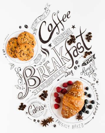 Tipografia di lettere colazione disegnata a mano con frasi classiche, cibi dolci reali, torte e beens di caffè in una composizione vintage.