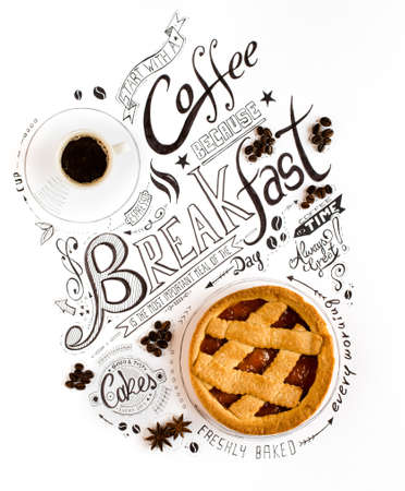 Hand Drawn Breakfast Lettering Typography with classic Phrases, Real sweet foods, cakes and coffee beens in a vintage composition.