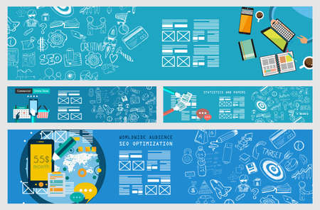 Business Concept Banner for teamwork and brainsotrming with Flat style. A lot of design elements are included: computers, mobile devices, desk supplies, pencil,coffee mug, sheeets,documents and so on