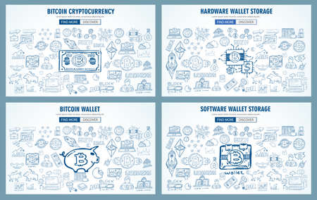 Cryptocurrency concept hand drawn doodle designs like: blockchains, software wallet, exchanges, data mining, nodes and so on