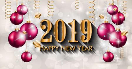 Fondo de feliz año nuevo 2019 para sus volantes de temporada y tarjetas de felicitación o invitaciones temáticas navideñas