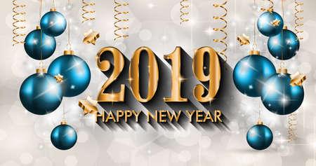 2019 guten Rutsch ins Neue Jahr-Hintergrund für Ihre Saison Flyer und Grußkarte oder Weihnachten themed Einladungen