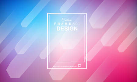 Abstract Geometric colorful background with high saturated gradients and different geometrical shape with frame template. Cover or Flyer layout with free space for text.
