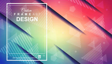Abstract Geometric colorful background with high saturated gradients and different geometrical shape with frame template. Cover or Flyer layout with free space for text. Vektorové ilustrace