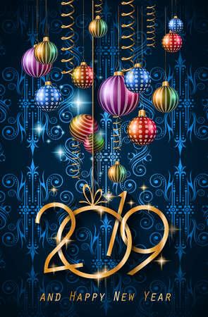 Fondo de feliz año nuevo 2019 para sus volantes de temporada y tarjetas de felicitación o invitaciones temáticas navideñas Ilustración de vector