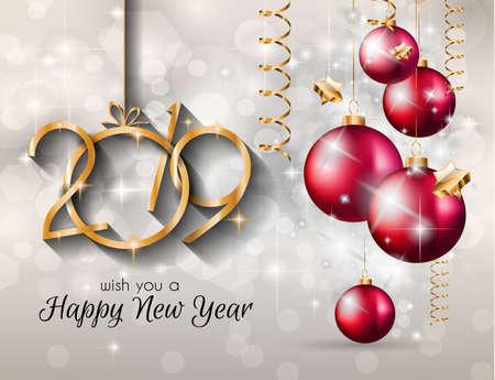 Fond de bonne année 2019 pour vos flyers saisonniers et carte de voeux ou invitations sur le thème de Noël