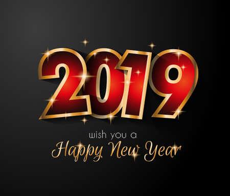 2019 Frohes Neues Jahr Hintergrund für Ihre saisonalen Flyer und Grußkarte oder weihnachtliche Einladungen