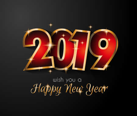 2019 Happy New Year Background for your Seasonal Flyers and Greetings Card or Christmas themed invitations Stok Fotoğraf - 109773904
