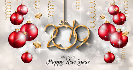 2019 Happy New Year Background for your Seasonal Flyers and Greetings Card or Christmas themed invitations Reklamní fotografie - 109773911