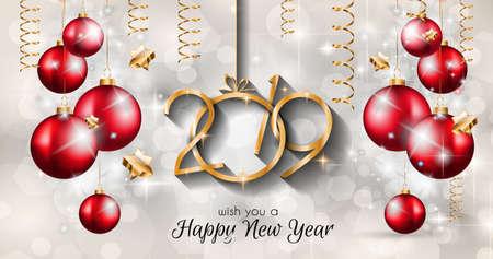 あなたの季節のチラシやグリーティングカードやクリスマスをテーマにした招待状のための2019年明けましておめでとうございます