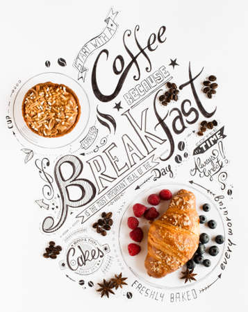 Hand Drawn Breakfast Lettering Typography with classic Phrases in a vintage composition with real cakes