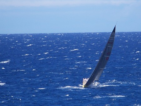 Yacht on the ocean Stock Photo