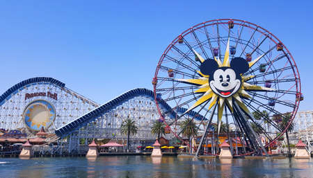 Pixar Pier and Paradise Gardens Park in California Adventure Disney Park, Anaheim, California, United States. Amazing view of the famous amusement park in Sunny California.