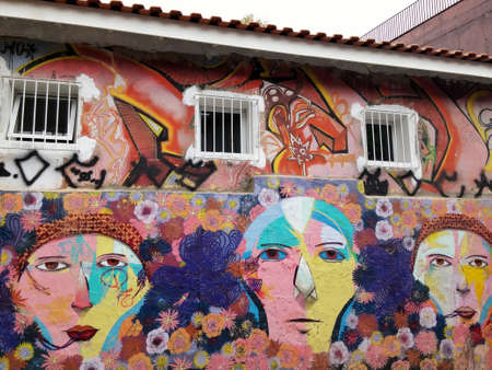 Sao Paulo, Sao Paulo, Brazil; 11222014: Colorful mural of street art about people cartoon with multiple flower shapes in pastel colors located in Batman Alley or Beco do Batman, a street with graffiti in Sao Paulo Editorial