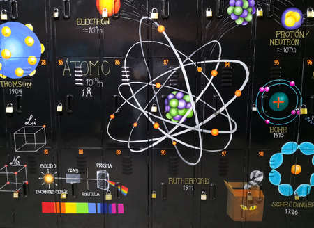 Mural with chemistry illustrations and paintings. Atomic models, electromagnetic spectrum, parts of an atom (protons, neutrons and electrons).