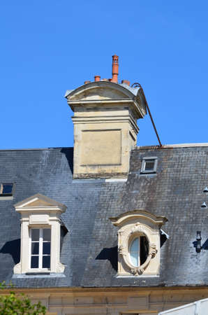 double glazing: roof of a house from the 19th century (France) Stock Photo