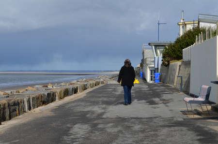 The dike of St. Martin de Bréhal in winter (La Manche - France)