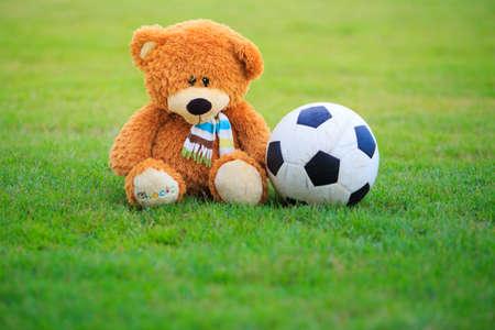 bear doll: Cute bear doll with football isolated on field of grass Stock Photo