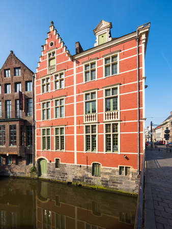 flanders: Old houses, memory, on the Lys, Korenlei, river Leie, Ghent, Flanders, Belgium, Europe