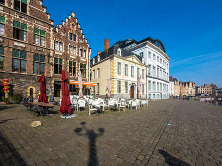 guild: Promenade on the Korenlei with the guild houses of the old town, Ghent, Flanders, Belgium, Europe