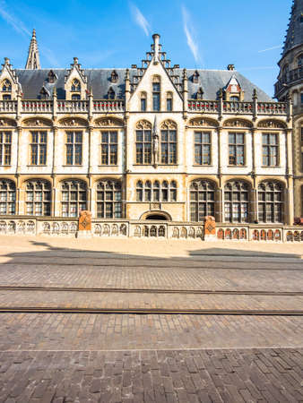 neo gothic: The old post office in neo-Gothic style, after the plans of architect Louis Cloquet and Stephan Etienne Mortie, Korenmarkt, Ghent, Flanders, Belgium, Europe
