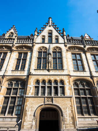 nen: The old post office in neo-Gothic style, after the plans of architect Louis Cloquet and Stephan Etienne Mortie, Korenmarkt, Ghent, Flanders, Belgium, Europe