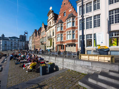 guild: Promenade at the Korenlei, with old guild houses on the river Leie, Ghent, Flanders, Belgium, Europe Editorial