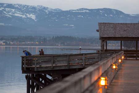 vancouver island: Comox harbour walkway at dusk, Vancouver Island, BC, Canada