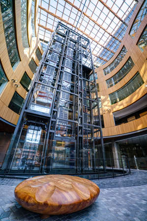 atrium: looking up at a modern building courtyard, The Atrium, Victoria, British Columbia, Canada