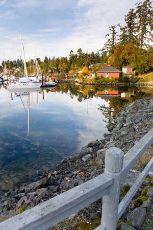 vancouver island: view of harbour and marina at Brentwood Bay (near Victoria), British Columbia, Canada