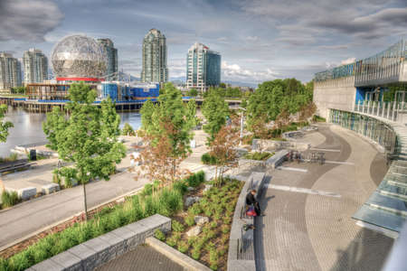 HDR image of False Creek, Vancouver, BC, including Science World, Creekside Community Centre and Olympic Village Editorial