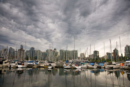 port stanley: view of Vancouver skyline from Stanley Park, British Columbia Editorial