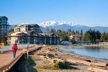 vancouver island: view of Parksville Beach and Mount Arrowsmith, Parksville, Vancouver Island, British Columbia Editorial