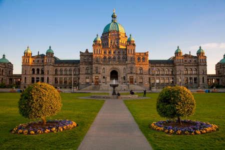 Parlement Gebouwen, Victoria bij zonsondergang, Vancouver Island, British Columbia