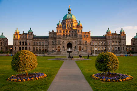 Parliament Buildings, Victoria at sunset, Vancouver Island, British Columbia Editorial