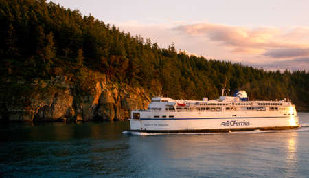 bc: sunrise over a British Columbia Ferries vessel, Gulf Islands, British Columbia Editorial