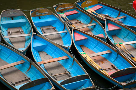 boats moored on Cherwell River, Oxford, UK