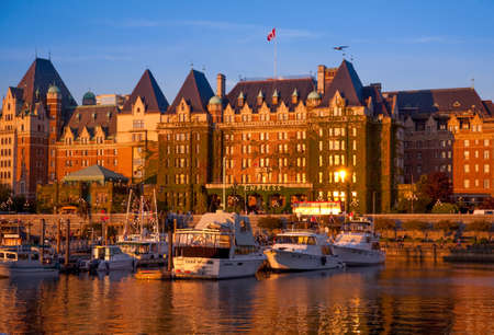 vancouver island: Empress Hotel and Inner Harbour, Victoria at sunset, Vancouver Island, British Columbia