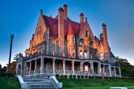 stately: Craigdarroch Castle at twilight, Victoria, Vancouver Island, British Columbia