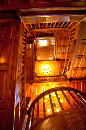stately: interior staircase at Craigdarroch Castle, Victoria, Vancouver Island, British Columbia