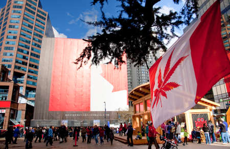 vancouver: two different Canada flags at Robson Square during Vancouver 2010 Winter Olympics, Vancouver, British Columbia