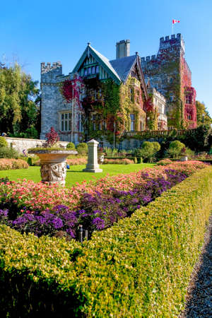 stately: Hatley Castle and grounds, Royal Roads University, Victoria, Vancouver Island, British Columbia