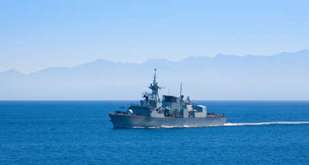 strait of juan de fuca: Canadian Navy destroyer in Juan de Fuca Strait near Esquimalt, Victoria, Vancouver Island, British Columbia