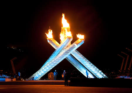 the Vancouver 2010 Olympic Winter Games flame and cauldron, Vancouver, British Columbia