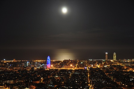 panoramic beach: barcelona at night