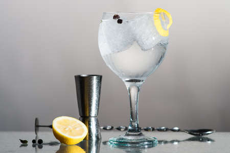 Gin Tonic with lemon and botanics in a balloon glass on grey background. With bar spoon and measure cup. Stock Photo