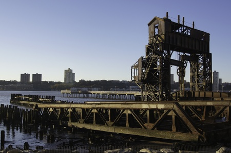 An old anbandoned shipyard on the Hudson riverbank as a monument to the past