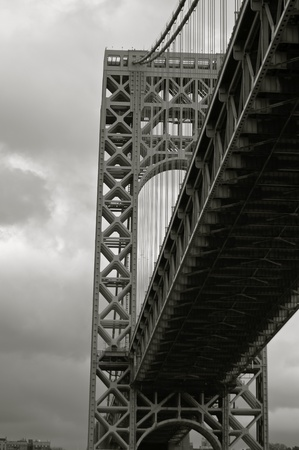 View from under the Washington Bridge on cloudy late fall day Stock Photo