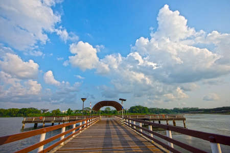 A view of cloudy sky at Lower Seletar Reservoir, a reservoir and leisure park located in the northeastern part of Singapore.