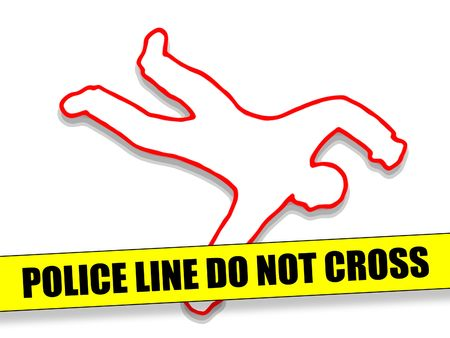 scene of a crime: Police Line Do Not Cross with Body Outline Stock Photo